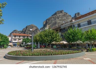 Kalambaka, Greece - 07.04.2018. Town of Kalambaka and view of the mountains of Meteora, a municipality in the Trikala, Greece