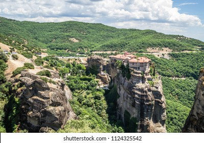 Kalambaka, Greece - June 10, 2018: A group of Orthodox monasteries Meteora, near the town of Kalambaka at the northwestern edge of the Plain of Thessaly.
