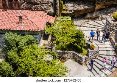 Kalambaka, Greece - June 10, 2018: A group of Orthodox monasteries Meteora, near the town of Kalambaka at the northwestern edge of the Plain of Thessaly.