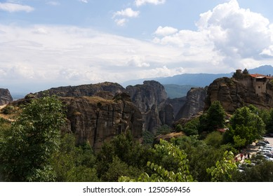 Kalambaka, Greece - June 17, 2018. Meteora region of the village of Kalambaka Greece.