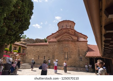 Kalambaka, Greece - June 17, 2018. Meteora monastery region of the village of Kalambaka Greece.