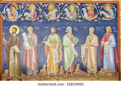 KALAMBAKA, GREECE - MAY 13, 2015: Old painting in the Holy Monastery of the Great Meteoro, on May 13, 2015 in Kalambaka, Greece