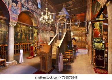 KALAMBAKA TOWN, GREECE- March 21, 2009. Interior of the Assumption of Virgin Mary church of the 11th century, with its famous marble pulpit. Trikala prefecture, Thessaly.