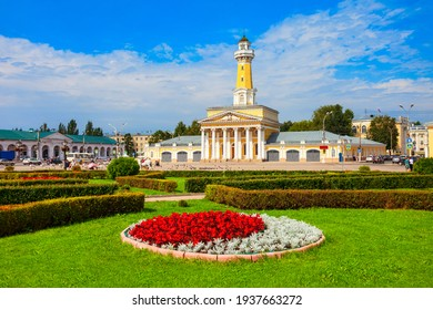 Kalancha is a Fire observation watchtower or watch tower at the Susaninskaya main square in Kostroma city, Golden Ring of Russia