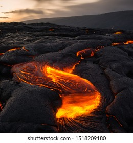 Kalapana Lava Flow at Big Island, Hawaii. floating lava and volcano during the night