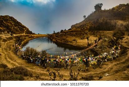 Kalapokhri High Altitude Lake with Buddhist Prayer Flags, Sandakphu Trek