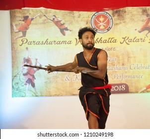 Kalari senior artist with a spear at the 'Parashurama Vallabhatta Kalari Academy event' held on October 19,2018 at the Prajna Ranga Hall,Bengaluru