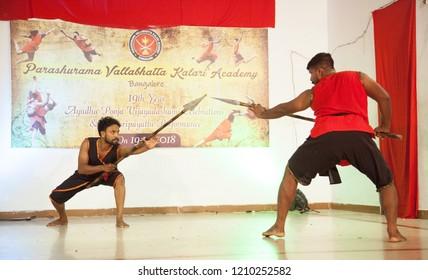 Kalari senior artists have a spear fight at the 'Parashurama Vallabhatta Kalari Academy event' held on October 19,2018 at the Prajna Ranga Hall,Bengaluru
