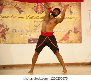 Kalari young artist warming up before the fight at the 'Parashurama Vallabhatta Kalari Academy event' held on October 19,2018 at the Prajna Ranga Hall,Bengaluru