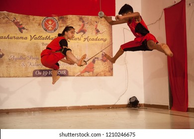 Kalari young artists jump with swords at the 'Parashurama Vallabhatta Kalari Academy event' held on October 19,2018 at the Prajna Ranga Hall,Bengaluru
