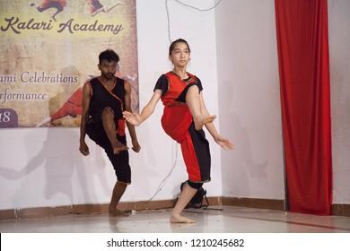 Kalari young artists perform the high kick at the 'Parashurama Vallabhatta Kalari Academy event' held on October 19,2018 at the Prajna Ranga Hall,Bengaluru