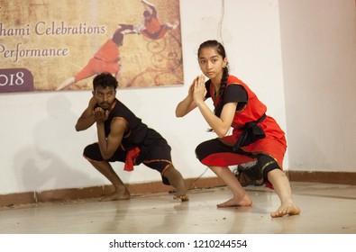 Kalari young artists salute the crowd at the 'Parashurama Vallabhatta Kalari Academy event' held on October 19,2018 at the Prajna Ranga Hall,Bengaluru