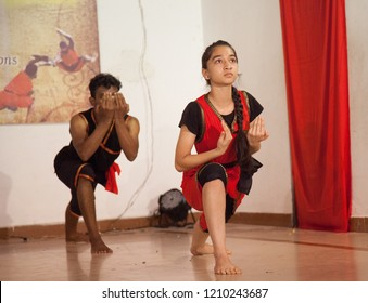 Kalari young artists salute the gods at the 'Parashurama Vallabhatta Kalari Academy event' held on October 19,2018 at the Prajna Ranga Hall,Bengaluru