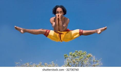 Kalarippayat, high  in the air, indian ancient martial art of Kerala, India