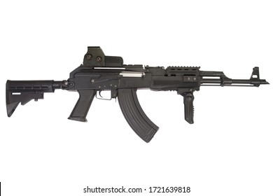 Kalashnikov AK 47 with modern accessories isolated on white background
