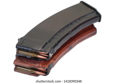 Kalashnikov AK 47 rifle magazin with cartridges isolated on white background
