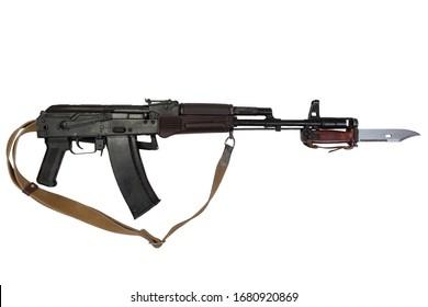 kalashnikov AK 74 assault rifle with bayonet knife isolated on white background