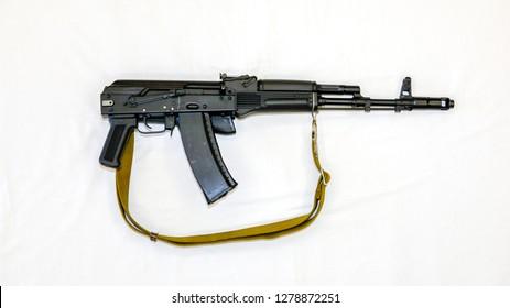 Kalashnikov AK-74 assault rifle with folding stock, close-up