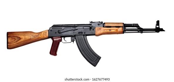 Kalashnikov assault rifle akm assembled isolated on white background