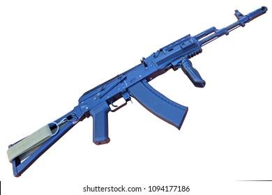 "Kalashnikov, is a gas-operated, assault rifle, developed in the Soviet Union by Mikhail Kalashnikov. It is the originating firearm of the Kalashnikov rifle (or ""AK"") family"