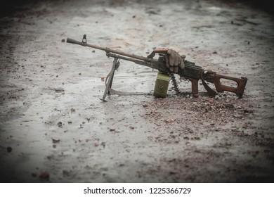 Kalashnikov machine gun on the battlefield