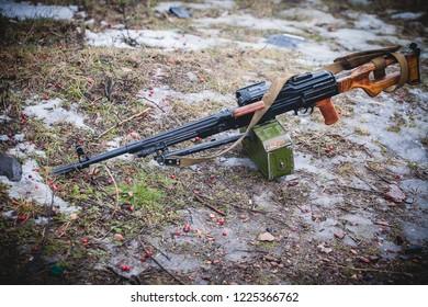 Kalashnikov machine gun in winter