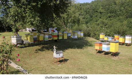 KALASIN, MONTENEGRO - JULY 26, 2017: The apiary at the Serbian Orthodox Moraca monastery located in the valley of the Moraca River. Founded in 1252.