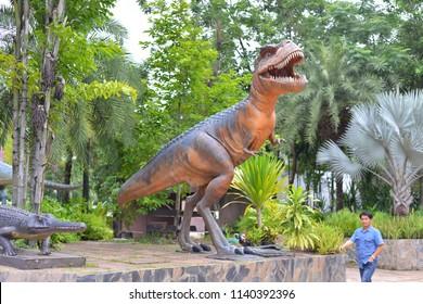KALASIN, THAILAND - JULY 21, 2018 : Sirindhorn Museum (Sirindhorn Dinosaur Museum) is a geology museum in northeast Thailand. Natural Sciences Dinosaur Fossils