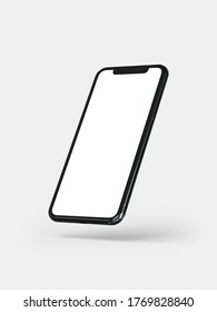 Kalasin, Thailand - Sep 20, 2020: Smartphone frameless mockup. 3d render of Brand new Iphone 11 Pro Max in silver color - template with blank screen for application presentation.