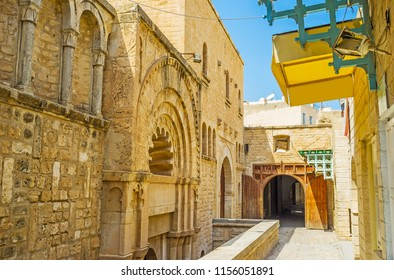 Kalat El Koubba is the medieval funduq (caravanserai, inn), located in Medina with outstanding architecture and ornate carved decorations, Sousse, Tunisia.