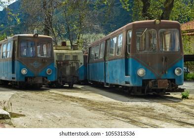 KALAVRYTA GREECE, April 4 2015-Old wagons of the Greek railways   standing on a station in Kalavryta.