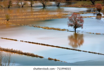 KALAVRYTA, GREECE.  Flooded fields close to Kalavryta town, Achaia, Peloponnese, Greece