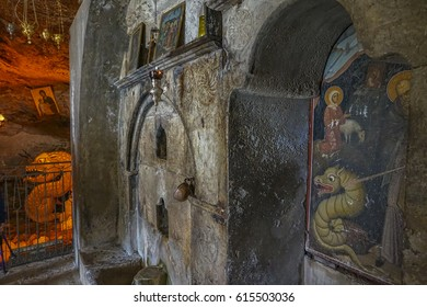 KALAVRYTA, GREECE MARCH 2017: The Holy Monastery of Mega Spileo is placed 10km far from the town of Kalavryta. It is the oldest in Greece and one of the most impressive christian orthodox pilgrimages.