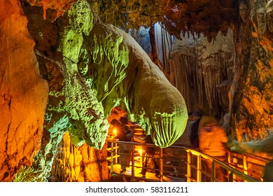 KALAVRYTA - GREECE, SEPT 2016: The Cave of the Lakes is located near the village Kastria in the Achaea regional unit near Kalavryta. The cave is an old subterranean river consisting of three levels.