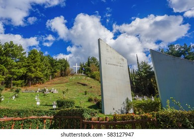 KALAVRYTA - GREECE, SEPT 2016: Memorial site of the massacre in Kalavryta at Peloponnese, Greece. The memorial is consecrated to the Holocaust of Kalavryta on December 13, 1943 During World War 2.