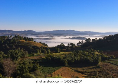 Kalaw highlands, Myanmar - November 18 2019: Beautiful morning views of the highlands between Kalaw and Inle Lake