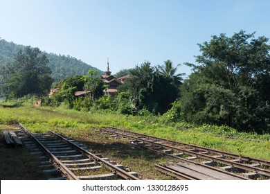KALAW, MYANMAR - 23 NOVEMBER, 2018: Horizontal picture of old rails and buildings located in the mountains close to Kalaw, Myanmar