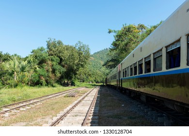 KALAW, MYANMAR - 23 NOVEMBER, 2018: Horizontal picture of old rails and train located in the mountains close to Kalaw, Myanmar