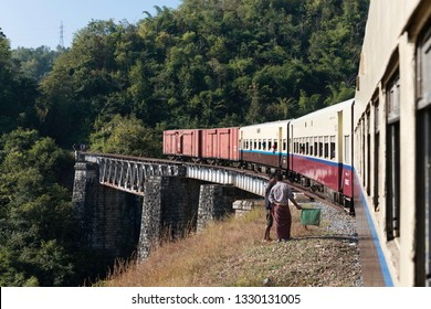 KALAW, MYANMAR - 23 NOVEMBER, 2018: Horizontal picture of local train over an old Brigde in Kalaw, Myanmar