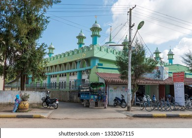 KALAW, MYANMAR - 25 NOVEMBER, 2018: Wide angle picture of Kalaw Masjid, the beautiful muslim mosque of Kalaw, Myanmar