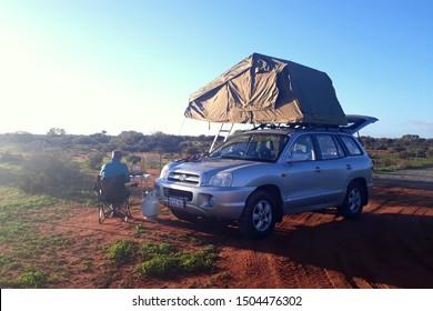 Kalbarri, Australia - 06 30 2019: Road trip with a 4WD Hyundai Santa Fe car through the beautiful landscape of Western Australia
