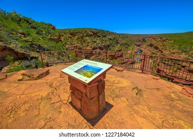 Kalbarri, Australia - Dec 19, 2017: interpretive sign information at Z-Bend lookout to Murchison River, an easy walk to a spectacular rock lookout overlooking the river. Kalbarri National Park, WA.