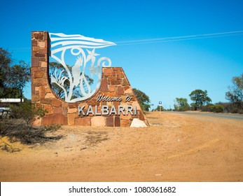 KALBARRI, WESTERN AUSTRALIA - MARCH 6, 2018: Welcome to Kalbarri sign with artwork. Kalbarri is a popular tourist destination north of Perth.