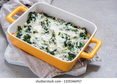 Kale Casserole with Eggs and Cheese. Healthy keto diet meal