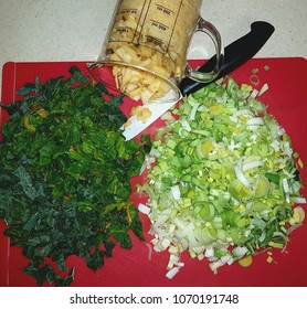 Kale, chard, turnips and leeks ingredients readied for adding to an organic soup