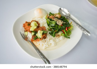 Kale fried Boiled eggs with rice
