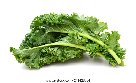 kale leafy vegetable closeup on white background
