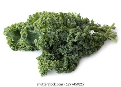 Kale leaves on white background