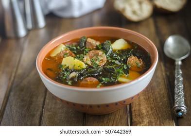 Kale, potato and chorizo soup