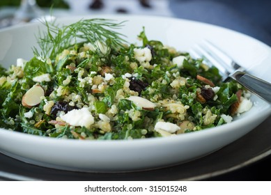 Kale and quinoa salad with dill vinaigrette and almonds